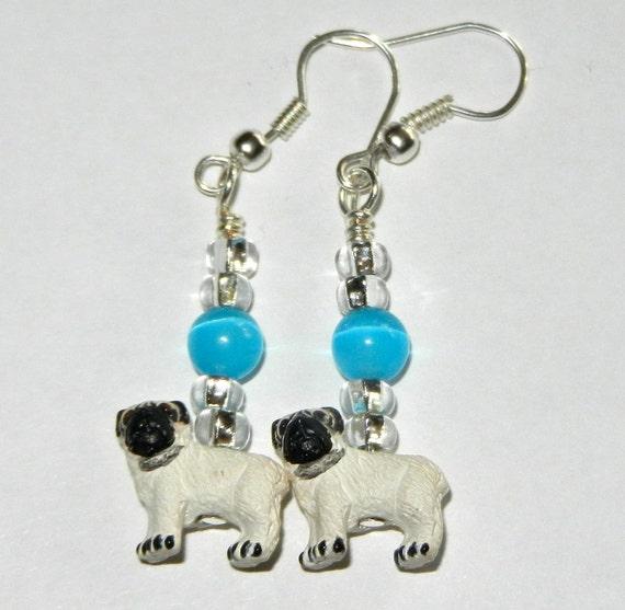 Dog earrings with blue cat's eye beads. Pugs.