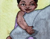 SALE In my Daddy's Arms 5x7 print - (dark-skinned Father and Daughter)