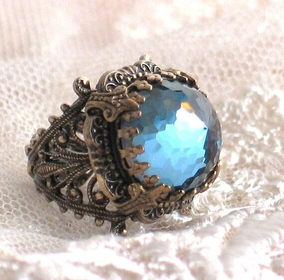 Rare Vintage Steel Blue Crystal and Filigree Ring - King's Crown by Lorelei Designs