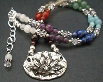 Chakra Healing Lotus Necklace, Yoga Meditation Natural Gemstone Statement Necklace