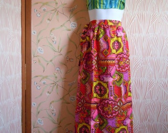 Vintage California Vogue Skirt Full Length Skirt Hot Pink Skirt 1970s Barkcloth Fabric Long Skirt