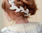 Silver Bridal headpiece, beaded leaf clip, fascinator, grecian, wedding headpiece, bridal hair piece, halo, Cleo, bridal headband, silver