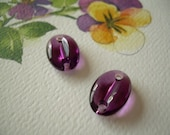 2 VINTAGE Purple  Swarovski Glass Connector Beads Art. 3219/4 Amethyst 15x10mm