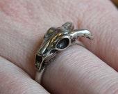 Little Ram Skull Ring Silver Ram Skull Ring Sideways Goat Skull Ring 126
