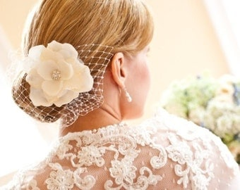 Hair flower with feathers and rhinestones - CHICAGO no.17