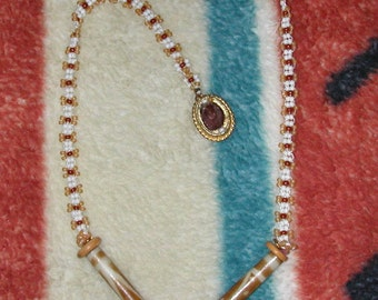 Necklace of White and Brown Seed Beadwork in Daisey Chain Pattern with Handpainted Beads from African
