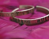 DADDY'S GIRL 4 To 6-Year-Old Kid's Cuff Bracelet In Sterling Silver Handstamped With Hearts