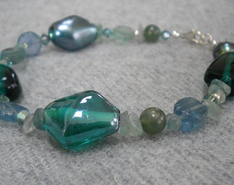 ENVY Bracelet With Jade, Fluorite, Freshwater Pearl, Swarovski Crystals, India Glass, Sterling Silver, One Of A Kind