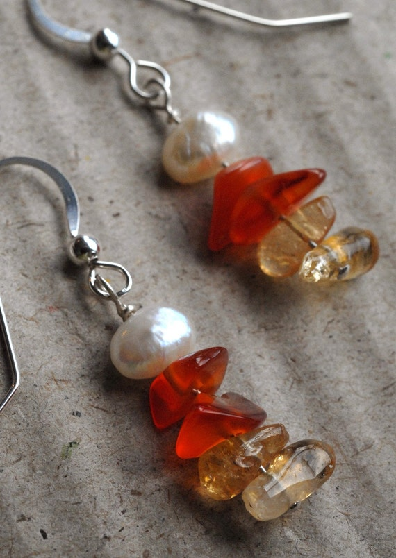 CANDY CORN Earrings With Sterling Silver Wire, Citrine, Carnelian & Freshwater Pearl
