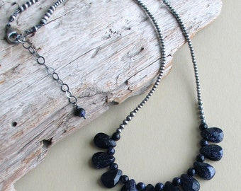 Navy Blue Goldstone Necklace on a Special Silver Chain, Navy Blue Bib Necklace, Blue Stones and Sterling Silver, Unique Gift for Mom