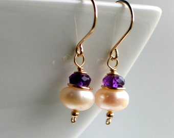 Pearl Amethyst Gold Earrings, Handmade Freshwater Pearl Earrings in Gold Filled, Fashion Pearls, February Birthstone