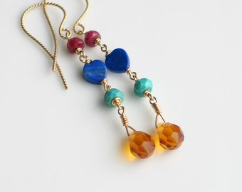 Bright Jewelry, Long Dangle Gold Earrings in Primary Colors, Ruby Lapis Turquoise Crystal on GF Wire, Bohemian Fashion