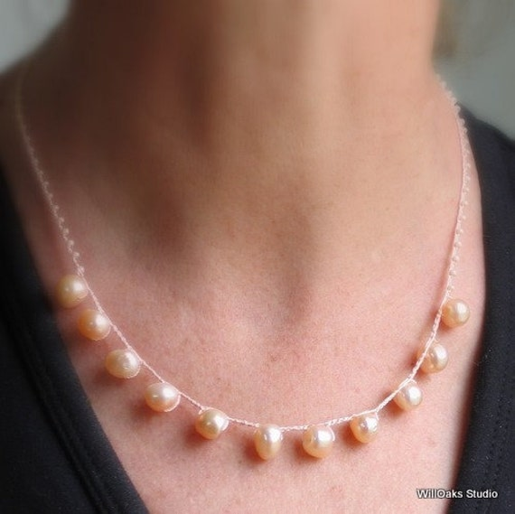 Peach Pearl Necklace, Freshwater Pearl Bib with Glass and Fine Fiberwork, Feminine Dainty Necklace, Artisan Original  Deluxe Gift