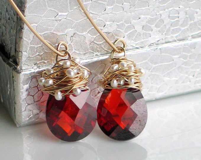 Featured listing image: Red and Gold Earrings, Pearl Wrapped Cubic Zirconia in Gold, Scarlet Red CZ, Long Earrings, Elegant Gift for Her, Holiday Fashion