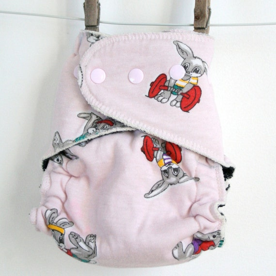 one size fitted cloth diaper - vintage bunnies - hemp fitted diaper - bamboo diaper - custom thread and snap color