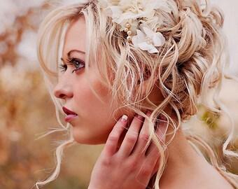 Champagne wedding hair piece  - vintage wedding - large flower hair flower - wedding hair accessories