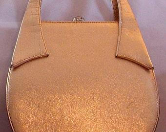 Beautiful, Vintage, Mod, Gold, Handbag with Sculptural Handles. Berne signed