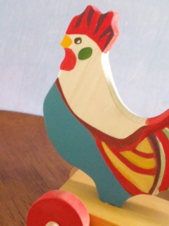 fancy rooster push toy (folk art object/decor)