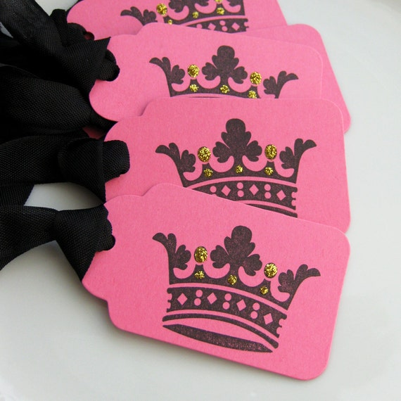 Crown Tags with Gold Glitter- Set of 6 - Custom Colors Available - Crown Party Favor Tags Princess Party Tags Crown Birthday
