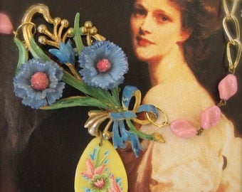 Lady Astor's Asters: Blue Flower Necklace Vintage Assemblage Floral Cornflower Petal Pink Sweet Girlie One of a Kind OOAK Boho Wedding