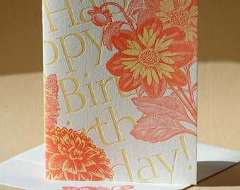 Dahlia Birthday Card and Blank Note Card