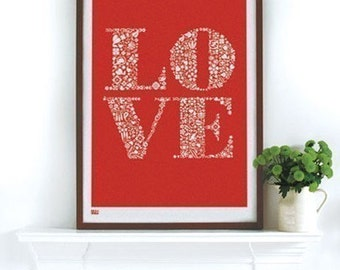 Love - decorative screen print