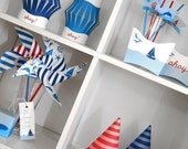 Sail Away Nautical Baby Shower or Birthday PRINTABLE Party Collection - You Customize EDITABLE TEXT Instant Download