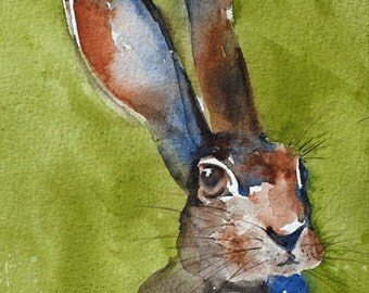 Nursery wall art Watercolor animal print Bunny Art PRINT 11x14 children wall art kid wall art watercolor bunny painting girl boy green brown