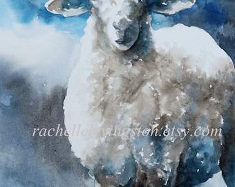 animal print nursery art print sheep picture sheep 11x14 Large sheep print art Lamb PRINT blue gray white grey little boys room decor dp