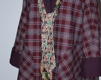 Tie Swing Coat Maroon Plaid