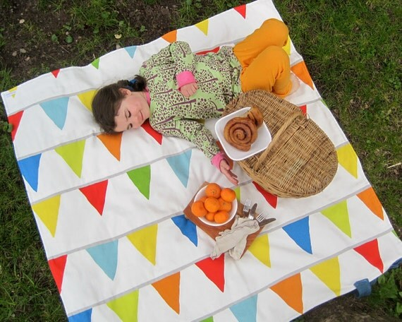 Picnic Blanket- Cool Mom Picks Recommended- Rainbow Flag Bunting-Waterproof Picnic Blanket