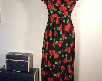 1970's MAXI DRESS Black Red Floral Maxi Dress Gothic Dolly Dress Bohemian Maxi 70's Festival Dress Vintage Maxi Dress S M Midnight Garden