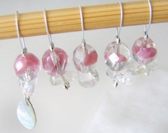 CLEARANCE - Rose - Golden Girls Series - Five Snag Free Stitch Markers - Fits Up To 5.0mm (8 US)