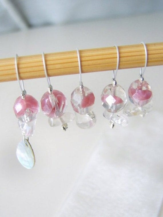 LAST SET - Rose - Golden Girls Series - Five Snag Free Stitch Markers - Fits Up To 5.0mm (8 US)
