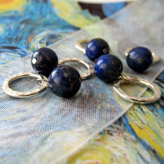 Starry Night - Five Handmade Stitch Markers - Fits Up To 6.5 mm (10.5 US) - Limited Edition