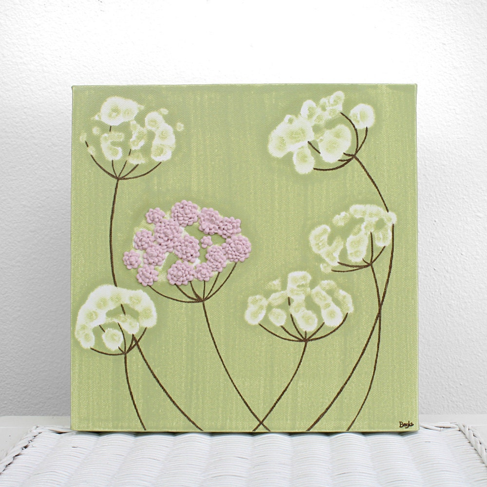 textured canvas painting small pink and green flower art zoom