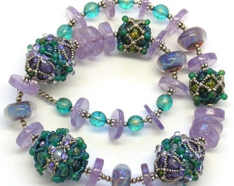 Time Machine Beaded Bead Necklace Amethyst Green