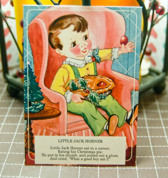 Nursery Rhymes Vintage Flashcards | Set of 9 | Choose your Size