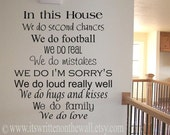 CUSTOMIZE In this House we do second chances 22x20 Vinyl Lettering Wall Saying-Unlimited Items ship for 3.80