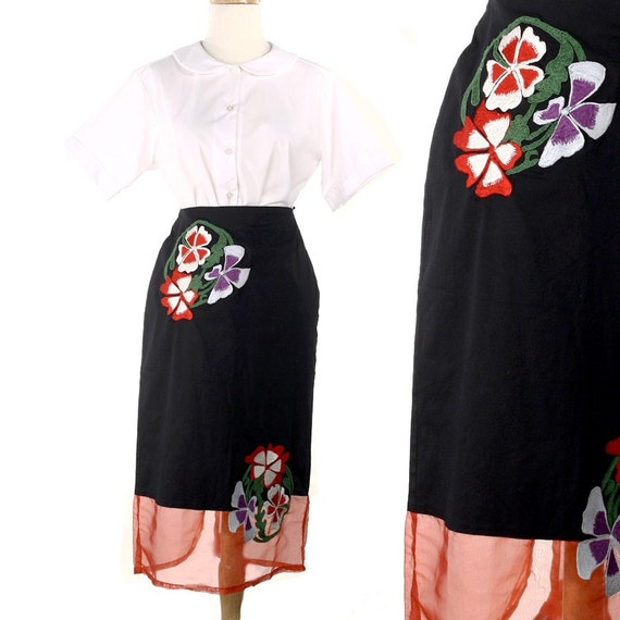 Vintage Pencil Skirt - Black w/ Sheer Red Panel & Embroidered Flowers - size Medium