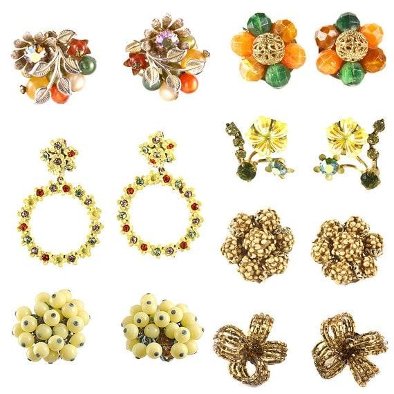 Candy Drop Vintage Earrings - Destash Sale - 7 Pair Vintage Clip On Earrings