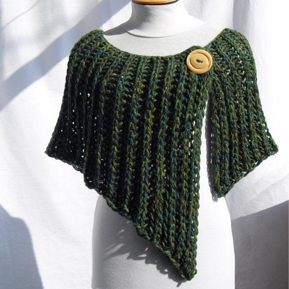 Free Knitting Patterns For Ponchos Or Shawls : Asymmetrical knitted wrap poncho shawl.