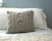 Cable Knit Pillow Sham in Wool, Sweater Pillow, Throw Pillow, Knit Pillow, Rustic Home Decor