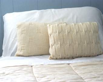 Chain Link Cable Knit Wool Pillow Sham 16 x12