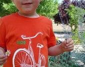 Children's orange ride a BIKE t-shirt, screenprint, short sleeve, all children sizes, old school schwinn design, portland
