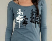 Women's Hemlock tree shirt, organic long sleeve, sea blue, sexy scoop neck, hand screenprint, gift for her, all sizes available