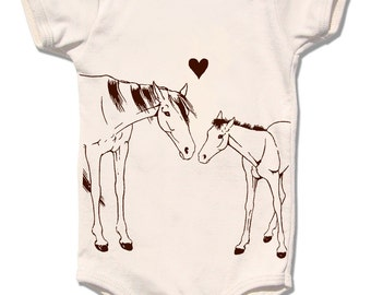 HORSE and PONY love, organic cream one piece baby bodysuit, infant and newborn sizes, short sleeve animal gift country urban farm heart love
