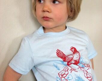 Misprint Sale Children's Chicken Shirt - light blue, urban french chickens, farm design, infant, toddler, kid sizes available