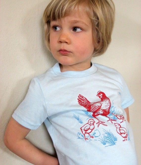 Children's Farm Chicken Shirt, chickens shirt, Kids Chicken T-shirt, Hen with Chicks T-shirt, toddler t-shirts, boy clothes, girl clothes