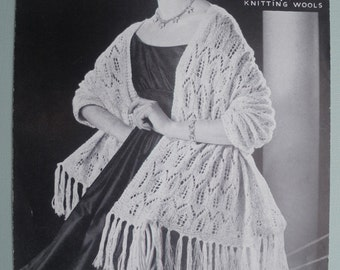 Vintage Knitting Pattern 1950s 1960s Womens Shawl / Stole / Wrap 50s 60s original pattern